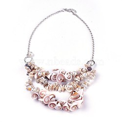 Shell Bib Statement Necklaces, with Acrylic Imitation Pearl and Iron Rolo Chains, Platinum, 21.8inches(55.5cm)(NJEW-WH0004-01P)