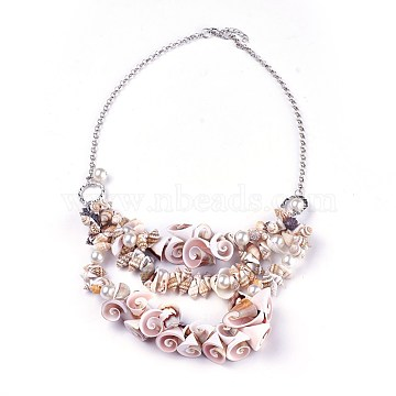 Shell Bib Statement Necklaces, with Acrylic Imitation Pearl and Iron Rolo Chains, Platinum, 21.8 inches(55.5cm)(NJEW-WH0004-01P)