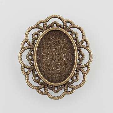 Filigree Wrap Oval Alloy Cabochon Settings, Cadmium Free & Nickel Free & Lead Free, Antique Bronze, Tray: 18x13mm; 29.5x25.5x2mm(X-PALLOY-N0088-11AB-NF)