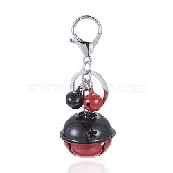 fer trousseau, avec anneau de clé de fer, cloche de fer, fermoir en laiton, rouge, 97 mm(KEYC-E018-01A)