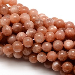 Grade AAA Natural Gemstone Sunstone Round Beads Strands, 4mm, Hole: 1mm; about 92pcs/strand, 15.5inches