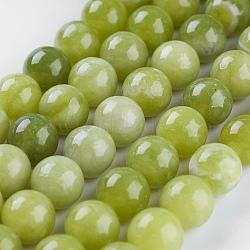 """Péridot naturel chapelets de perles, rond, 8mm, trou: 1mm; environ 47 pcs/chapelet, 14.9"""" (38 cm)(X-G-P358-01-8mm)"""