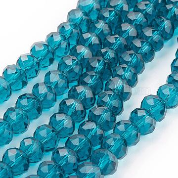Peacock Blue Imitate Austrian Crystal Faceted Glass Rondelle Spacer Beads, Dark Cyan, 8x6mm, Hole: 1mm; about 68~70pcs/strand(X-GR8MMY-69)