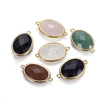 Golden Oval Mixed Stone Links