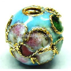 Handmade Cloisonne Beads, Filigree Round, Light Blue, 8mm, Hole: 1mm(X-CLB8mmC09)