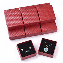 Cardboard Jewelry Boxes, for Pendant & Earring & Ring, with Sponge Inside, Square, Red, 7.5x7.5x3.5cm; Inner Size: 6.5x6.5cm; No Cover: 7cm long, 7cm wide, 3mm thick; Cover: 7.5cm long, 7.5cm wide, 2cm thick(X-CBOX-N012-25A)