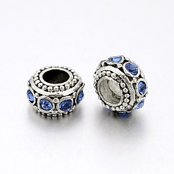 Antique Silver Plated Alloy Rhinestone Beads, Large Hole Rondelle Beads, Light Sapphire, 11x6.5mm, Hole: 5mm(RB-J503-04AS)