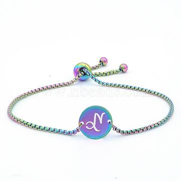 """Bracelets réglables en 201 acier inoxydable, bracelets bolo, avec des chaînes de boîte, plat rond avec constellation / signe du zodiaque, Capricorne, 9-1/2"""" (24 cm)(STAS-S105-JN664-10)"""