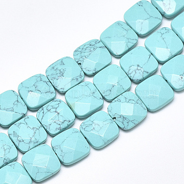 12mm Square Synthetic Turquoise Beads
