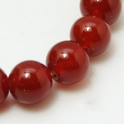 Natural Red Agate Beads Strands, Dyed, Grade A, Round, 12mm