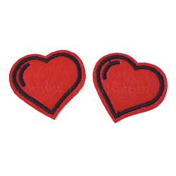 Informatisée broderie chiffon fer sur les patchs, accessoires de costumes, appliques, cœur, rouge, 34x37x1mm(FIND-T030-048)