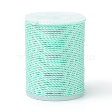 Waxed Polyester Cord, Twisted Cord, Pale Green, 1mm, about 12.02 yards(11m)/roll(X-YC-G006-01-1.0mm-34)