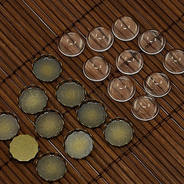 Flat Round Brass + Glass Cabochons