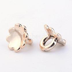 Béliers acryliques plaqués uv, pour les pendants de couverture de bulle de verre de globe, fleur, or clair, 9x12mm, Trou: 4mm(X-PACR-R239-02)