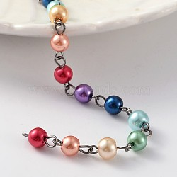 faits à la main en laiton des chaînes de perles de verre de perles, non soudée, pour colliers bracelets étoffe, bronze, 39.3(AJEW-JB00197-02)
