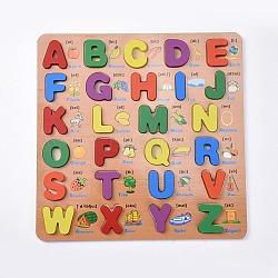enfants en bois blocs de construction de bricolage, pour les jouets d'apprentissage et d'éducation, alphabet, couleur mélangée, 30x30x1.25 cm; 26 pcs / set(DIY-L018-21)