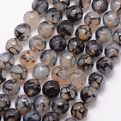 Natural Dragon Veins Agate Bead Strands, Round, Grade A, Faceted, Dyed & Heated, Black, 8mm, Hole: 1mm; about 47pcs/strand, 15inches