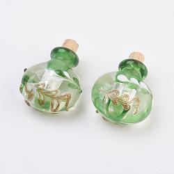 Handmade Silver Foil Lampwork Perfume Bottle Pendants, Essential Oil Bottle, with Gold Sand, Yellow Green, 29.5~30mm, Hole: 5mm; Bottle Capacity: 0.5~1ml(0.017~0.03 fl. oz)(X-FOIL-P001-A07)