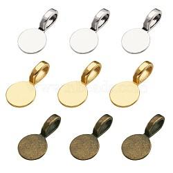 Bélière à coller de style tibétain  , plat rond, couleur mixte, 18x10x5.5mm, Trou: 6x3.5mm, 60 pièces / kit(TIBE-TA0001-10)