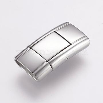 304 Stainless Steel Bayonet Clasps, Rectangle, Stainless Steel Color, 24x12.5x5.5mm, Hole: 3x11mm(STAS-F122-35P)