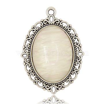 Alloy Cat Eye Pendants, Oval, Seashell Color, Antique Silver, 39x28x6mm, Hole: 2mm(PALLOY-J069-06AS)