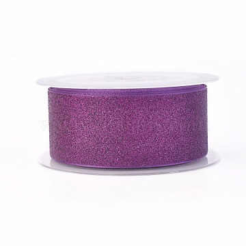 Sparkle Polyester Ribbons, Glitter Ribbon, Purple, 1-1/2inches(38mm); about 50yards/roll(45.72m/roll)(SRIB-L054-38mm-C079)