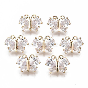 Brass Micro Pave Cubic Zirconia Charms, Long-Lasting Plated, Butterfly, Light Gold, Clear, 11x15x6mm, Hole: 1.4mm(X-KK-R111-069)