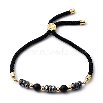 Adjustable Slider Bracelets, Nylon Cord Bracelets, with Natural Black Agate Beads, Non-Magnetic Synthetic Hematite Beads and Brass Beads, Golden, Inner Diameter: 3/4 inch~3-1/8 inches(2~8cm)(BJEW-JB05459-01)