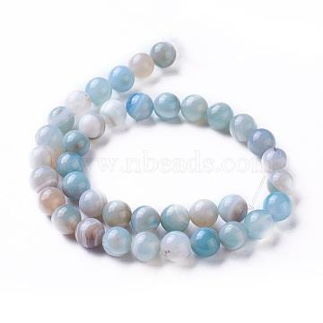 10mm Aqua Round Natural Agate Beads