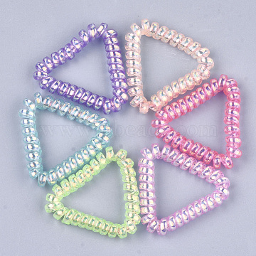 Plastic Telephone Cord Elastic Hair Ties, Ponytail Holder, Triangle, Mixed Color, 48~52x54~56x8~9mm(OHAR-T006-25B)