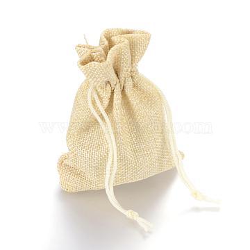 Burlap Packing Pouches Drawstring Bags, Lemon Chiffon, 9x7cm(X-ABAG-Q050-7x9-13)