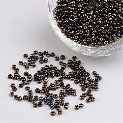12/0 iris perles de graines de verre rond, colorées, 2mm, trou: 1 mm; environ 3304 pcs / 50 g(X-SEED-A009-2mm-602)