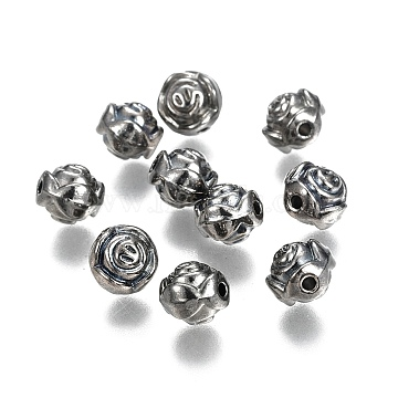 Alloy European Beads, Skull, Antique Silver, 13x10x11mm, Hole: 5mm(PALLOY-P184-25B-RS)
