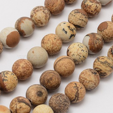 Natural Picture Jasper Beads Strands, Frosted, Round, 10mm, Hole: 1mm; about 38pcs/strand, 14.9 inches(G-D686-10mm)