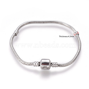 Brass European Style Bracelets Making, with Brass Clasps, Clasp without Logo, Platinum, 18cm(excluding the length of clasp); 3mm(PPJ004Y)