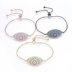 """Bracelets réglables en laiton à micro-pavé de zircons cubiques, Bracelets coulissants, oeil de cheval, colorées, couleur mixte, 10-7/8"""" (27.5cm); 1.2mm(BJEW-H583-11)"""