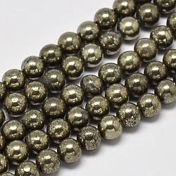 """Chapelets de perles rondes en pyrite naturelle, Grade a, 6mm, trou: 1mm; environ 62 pcs/chapelet, 15.5""""(G-F197-10-6mm)"""