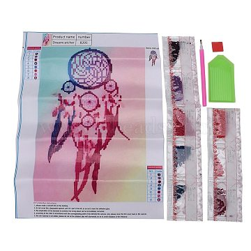 DIY Diamond Painting Canvas Kits For Kids, with Resin Rhinestones, Diamond Sticky Pen, Tray Plate and Glue Clay, Woven Net/Web with Feather, Mixed Color, 35x26cm(DIY-F059-02)