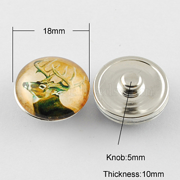 Brass Jewelry Snap Buttons, with Glass Cabochons, Flat Round, Platinum, Goldenrod, 18x10mm, Knob: 5mm(GLAA-S029-29)