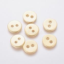 Boutons en acier inoxydable 304, 2-trou, plat rond, or, 12x1mm, Trou: 2mm(STAS-L234-005G)