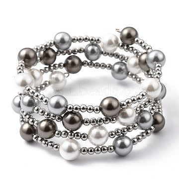 Four Loops Fashion Wrap Bracelets, with Shell Pearl Beads, 304 Stainless Steel Beads and Steel Memory Wire, Gray, Inner Diameter: 2-1/8 inches(5.4cm)(BJEW-JB05494-01)