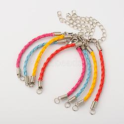 Création de bracelet tressé en cuir avec cordon, avec les accessoires en fer et fermori mousquetons en alliage, platine, couleur mixte, 160x3mm, Trou: 4mm(X-AJEW-JB00032)