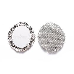 Supports alliage cabochon de style tibétain, matériel de bricolage pour les accessoires de cheveux, argent antique, ovale, plateau: 40x30 mm; 54x45x2 mm(X-PALLOY-A15623-AS)