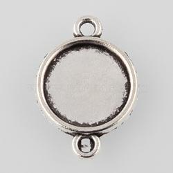 Настройки разъем сплава кабошон тибетском стиле, чашки безель с краем, плоские круглые, Старинное серебро, лоток: 12 мм; 21x15x2 мм, отверстия: 2 mm(X-TIBE-M022-10AS)