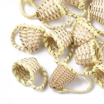 20mm LemonChiffon Others Rattan Pendants