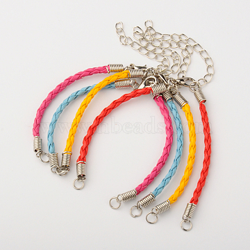 Braided PU Leather Cord Bracelet Making, with Iron Findings and Alloy Lobster Claw Clasps, Platinum, Mixed Color, Platinum, 170x3mm, Hole: 4mm(X-AJEW-JB00032)