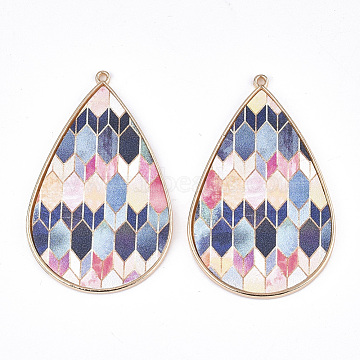 PU Leather Big Pendants, with Golden Plated Alloy Findings, Teardrop with Hexagon Pattern, Colorful, 58x37x3mm, Hole: 1.6mm(X-FIND-S314-004A)