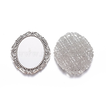 Metal Alloy Cabochon Settings, Cadmium Free & Lead Free, DIY Material for Hair Accessories, Antique Silver, Oval, 54x45x2mm, Tray:  40x30mm(X-PALLOY-A15623-AS)