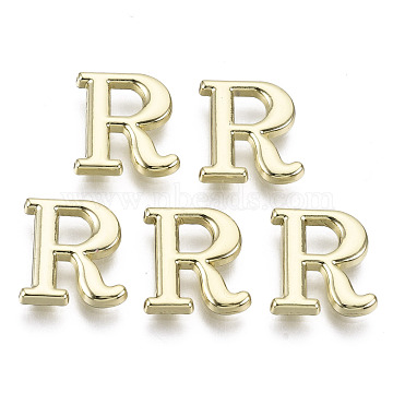 Alloy Cabochons, Cadmium Free & Nickel Free & Lead Free, Letter, Letter.R, 10.5x10x1.5mm(PALLOY-S125-096R-B-NR)