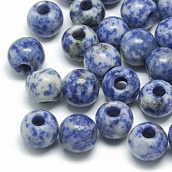 perles de jaspe tache bleue naturelle, grandes perles de trou, rondelle, 14x12 mm, trou: 5.5 mm(X-G-T092-14mm-11)